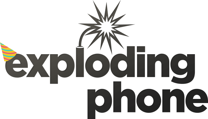 Exploding Phone logo with birthday hat